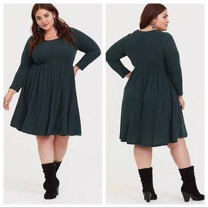 torrid super soft plush skater green scoop fit flare dress